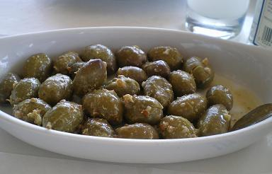 Green-olives-served-with-coriander-lemon-juice-and-garlic